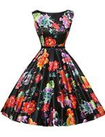 Floral Rockabilly Swing Dresses with Belt VL6086 (Multi-Colored)