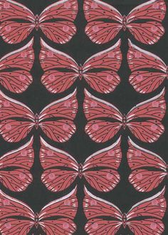 Ritva Kronlund: Butterfly Wallpaper in Black-red for Tapettitehdas