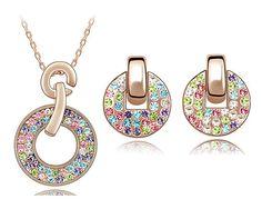 Parure Collier Et Boucles D'Oreilles Arc-En-Ciel En Cristal Swarovski Éléments Multicolore - Ninaboxbijou