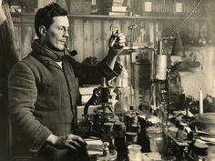 "Dr. Edward Atkinson in his Antarctic Lab - British Antarctic ""Terra Nova"" Expedition, 1910-1913"