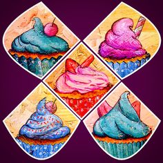 Go to love and little cupcake Apple Art, Toffee, Cupcake, Cards, Sticky Toffee, Candy, Cupcakes, Cupcake Cakes, Map