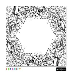 Border Floral Colouring In