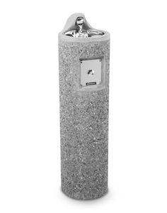 Haws 3060FR   Freeze Resistant Drinking Fountain on Round Concrete Pedestal