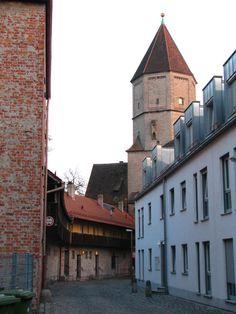 Augsburg, Stadtwehr mit Blick auf Jakobertor