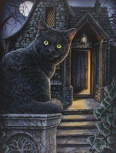 Lienzo grande con gato: lo que hay dentro - Lisa Parker: Magische Wesen auf vier Pfoten - Gatos Halloween Kunst, Halloween Artwork, Halloween Cat, Halloween Night, Lisa Parker, Magic Cat, Black Cat Art, Black Cats, Witch Cat