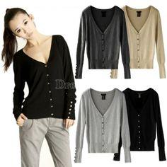 Fashion Women Shell Button V Neck Casual Jumper Knitwear Cardigan Sweater Tops Coat