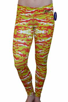 Lime Green and Orange Camo Leggings
