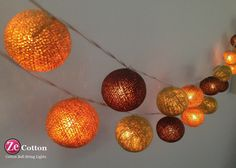 3 tones 35 mixed 3 Colors Cotton Ball String Lights by zecotton