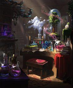 Card: Silent Laboratory Fantasy Concept Art, Fantasy Places, Fantasy Setting, Fantasy Landscape, Dark Fantasy Art, Fantasy Artwork, Fantasy World, Witch Room, Arte Cyberpunk