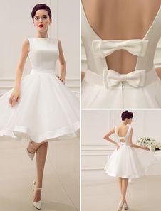 Vestido de noiva marfim curto com decote nas costas em Organza e Cetim Milanoo