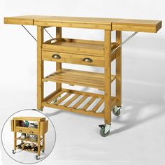 SoBuy® Bamboo Kitchen Trolley Cart with Folding Hinged Side Boards, FKW25-N, UK