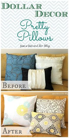Love cute throw pillows but dont want to spend an arm and a leg to get them? Check out these tips for adorable, affordable pillows! {She spent $12 on 3 pillows!}