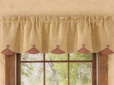 "Red Burlap & Check Lined Scalloped Curtain Valance 58"" x 14"""