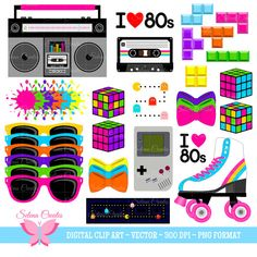 Clipart Set Digital Clipart Clip Art by SelenaCreates Retro Party, Neon Party, Disco Party, 80s Birthday Parties, 80th Birthday, Disco Birthday Party, 80s Party Outfits, Party Fiesta, 80s Theme