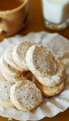 Hazelnut shortbread cookies.  Only 4 ingredients! Crumbly, buttery, melt-in-your-mouth shortbread, with a distinctive hazelnut flavor.  Great recipe for the Holidays! | JuliasAlbum.com | Christmas cookies