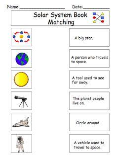 Solar System: Definition matching worksheet