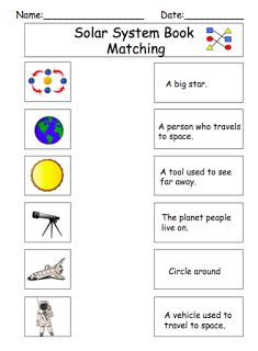 solar system matching worksheets - photo #2