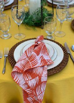 Havana Nights Holiday Inspiration with our Mango Havana Napkins & Mustard Dupioni full length table linens