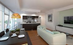 1330 Boylston Street apartment living room and kitchen renderings.