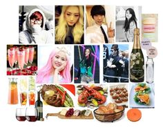 """""""Yummy AND Delish with Kpop Idols"""" by kpoporiginals on Polyvore featuring KRISVANASSCHE, Linda's Gourmet Latkes, LSA International, Perrier-Jouët, Libbey and ban.do"""