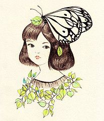 The girl with the butterfly hairdress