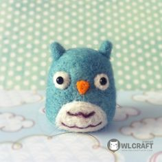 "Another pinner says: ""This Owl wants to marry Totoro!!    Lovely Blue Mint OWL Needle Felt 5 cm"""