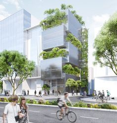 the building uses alternately-stacked boxes with interweaved terraces in between to accommodate space for trees.