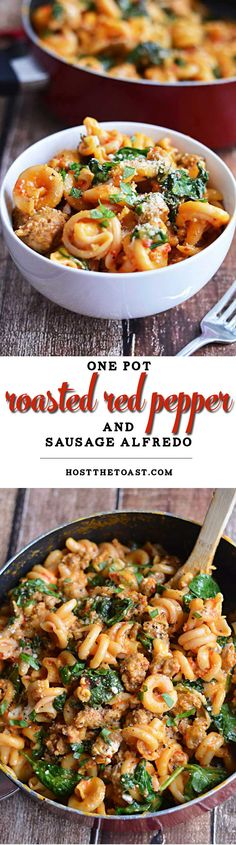 One Pot Roasted Red Pepper and Sausage Alfredo.  Roasted red peppers, Italian sausage, spinach, garlic, and goat cheese, all with only one pot to clean?  Count me in.   hostthetoast.com