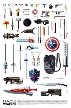 Famous Weapons Used By Your Favorite Superheroes & Villains #infographic