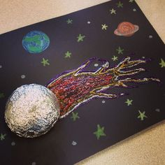 Comet craft: First, have kids use black construction paper with crayons and draw planets and stars. Cut styrofoam balls in half, cover in foil and glue to paper. Use glitter glue pens (or glue with sprinkled glitter) for the tail of comet. Super easy and kids loved it! Image only.