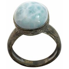 De Buman Sterling Silver Blue/White Larimar Antiqued-finish Ring ($50) ❤ liked on Polyvore featuring jewelry, rings, blue, sterling silver band rings, sterling silver rings, oval stone ring, blue band ring and blue sterling silver rings