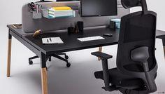 Spaceist-Alpha-desk-blsck-closeup Cool Office Desk, Laminate Colours, Desk Height, Oak Desk, Oak Panels, Adjustable Height Desk, White Laminate, Office Storage, Engineered Wood
