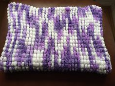 Large lilac mix marshmallow pom pom baby blanket - The Supermums Craft Fair