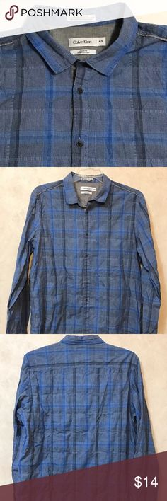 """Men's Calvin Klein Button Down Shirt XL Pre-owned Calvin Klein Blue Plaid/Check Button down Shirt. Pre-owned and in excellent condition. Size: XL Chest (pit to pit): 24"""" Shoulder: 19"""" Length: 29"""" Calvin Klein Shirts Casual Button Down Shirts"""