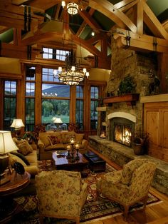 great room of rustic cabin cottage or lodge also referred to as family room - Log Cabin Living Room