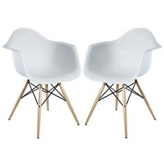 Modway Pyramid Dining Armchair Set of 2 in White