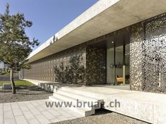 Bruag presents individual facade systems made from CELLON which can be perforated with custom designs. Cladding Panels, Architectural Materials, Grand Designs, Facade Design, Stair Railing, Le Corbusier, Ideal Home, Exterior, Mansions