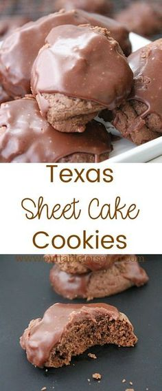 Texas Sheet Cake Cookies: Table for Seven Cookie Desserts, Just Desserts, Cookie Recipes, Delicious Desserts, Dessert Recipes, Yummy Food, Cookie Table, Cocoa Recipes, Dessert Food