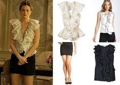 On Blair: Bill Blass Flamenco Backless Blouse, Nanette Lepore Dance Floor Mini Skirt, Giuseppe Zanotti Black Satin Peep Toe Pumps