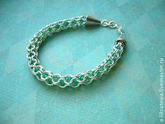 """Браслет """"Омела"""" - зелёный,изумрудный,хризопраз,кольчужное плетение,серебряный"""