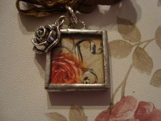 PEACY ROSE  Soldered Glass Art Pendant by victoriacharlotte, $8.00