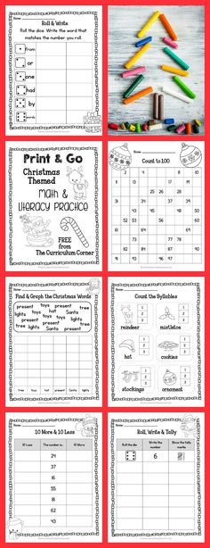 33 FREE Pages! Print & Go Kindergarten & 1st Grade Practice Pages for Christmas from The Curriculum Corner | Fry Words | Number Sense | Free Practice Pages | Literacy & Math Centers