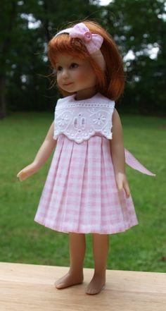 "Pink Plaid dress for Effner Heartstring dolls 8"""