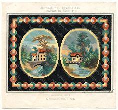 Antique BERLIN WOOL WORK Pattern Journal Des Demoiselles, Biedermeier Sajou Era