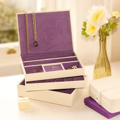 Set Of Three Stacking Jewellery Trays - boxes, trunks & crates