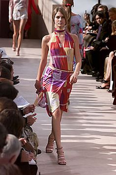 Louis Vuitton | Spring 2000 Ready-to-Wear | 63 Red/purple/yellow printed halter midi dress