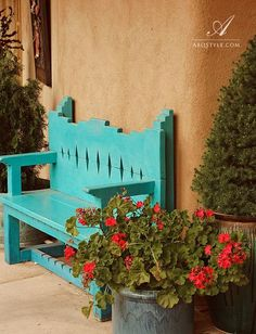 Benches make a space feel comfortable and relaxing. Especially with a potted plant next to it and a spot to put your tea.- Laurel  Santa Fe, New Mexico, Art Gallery