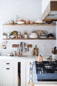 white walls in eclectic kitchen. / sfgirlbybay