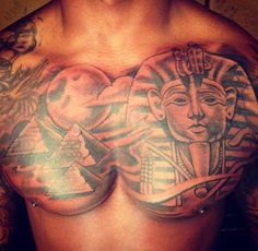 What does pyramid tattoo mean? We have pyramid tattoo ideas, designs, symbolism and we explain the meaning behind the tattoo. Ankh Tattoo, Osiris Tattoo, Ox Tattoo, Sphinx Tattoo, Tribal Chest Tattoos, Full Chest Tattoos, Chest Piece Tattoos, Dope Tattoos, Body Art Tattoos