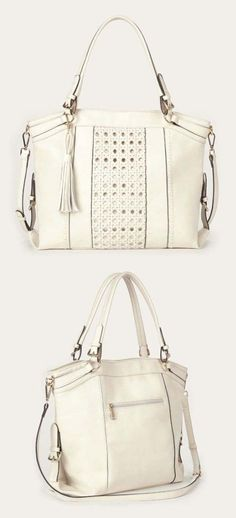 Roomy ivory tote bag with gold-toned hardware, a woven panel, removable tassel and removable crossbody strap